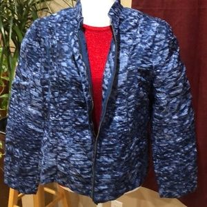 Chico's Blue Ruched Puffer Jacket Size 2.5